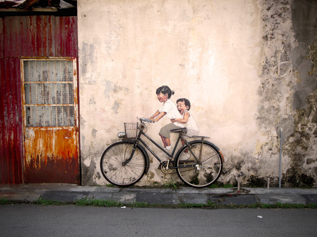 street art painting bike bicycle children on grafiti mural photography photo wall cool art