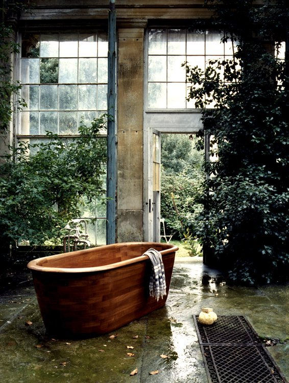 teak athtub bath timber wood design interior architecture beautiful wonderful garden green house living architecture photography image tumblr