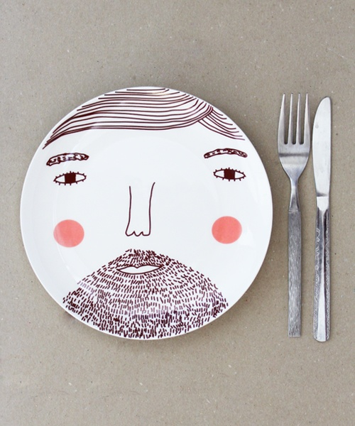 breakfast cutlery cute funny drawing on plate dishes design product design kitchen interior photography photo image