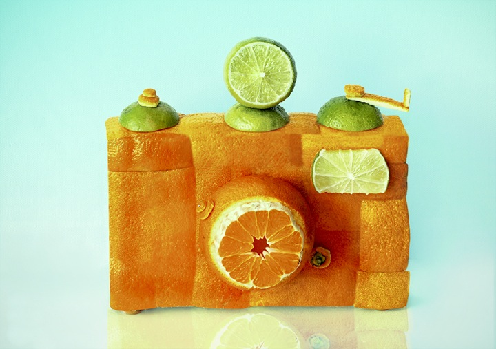 everyday objects eco design vegetables fruit camera photography orange lemon decorated camera photograph art sculpture cool fun camera foto