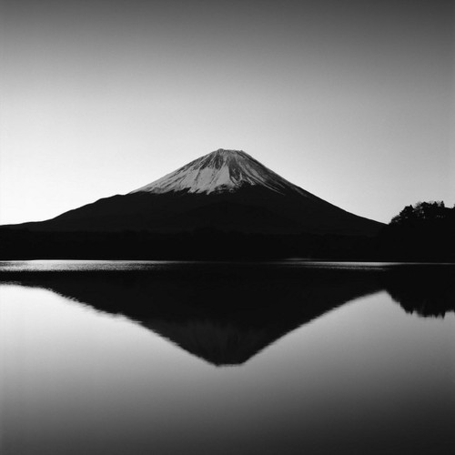 mount fuji mountain japan black and white photograph photography mirror reflection water lake beautiful scenery landscape ar
