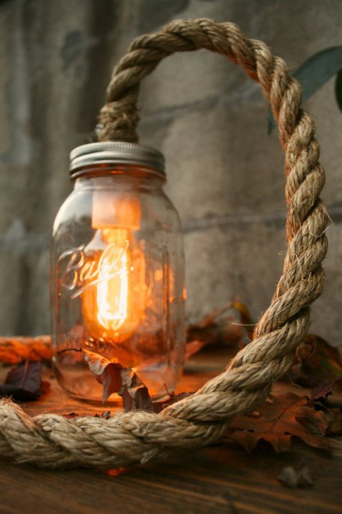 Mason Jar Lighting Rustic Wedding Decor Wedding Lighting Desk Lamp or Night Light - Vintage Industrial Rope Design light rope glass design lamp outdoor vintage led lighting photography photo artist stringt table fisherman lamp
