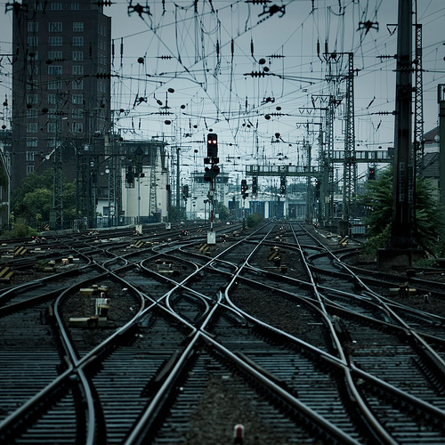 tracks train railway photography net cables network overlapping train tracks lost Julio saguar net art photography urban city photographer