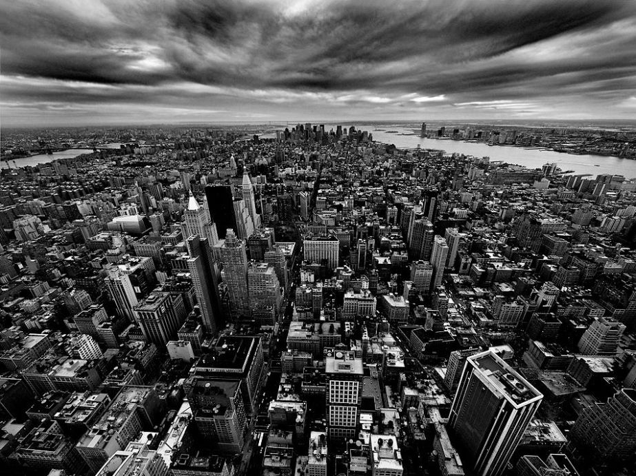 NYC New York Manhattan USA september 11 brooklyn city architecture urban buildings black and white photography world trade centre aerial view photograph