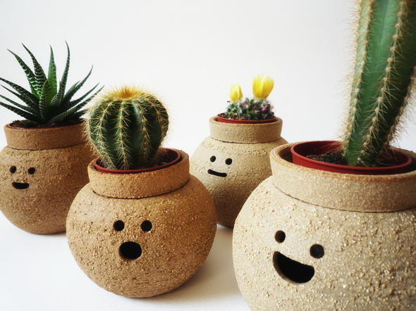 hairstyle, funny, photography, design, pots, clay, eco friendly, smilies, cactus