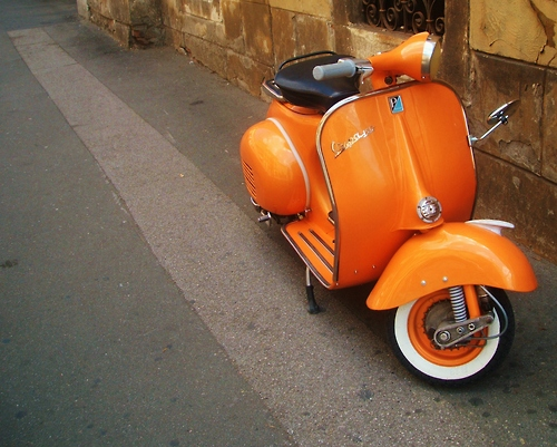rome vespa orange car scooter photograph photography image street driving bike city urban italy vintage scooter beautiful vespa original design