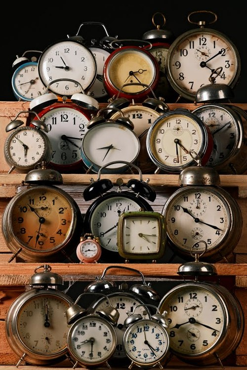 series, set of vintage alarm clocks on a shelf old retro clock watch time design photography photo getting out of bed waking up ringing bell