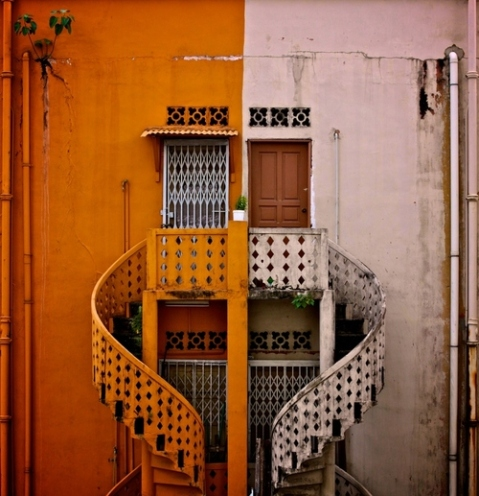 color combination architecture colorful facade metal colored spiral staircase facade door entrance architecture photography best architeture blog beautiful color facade