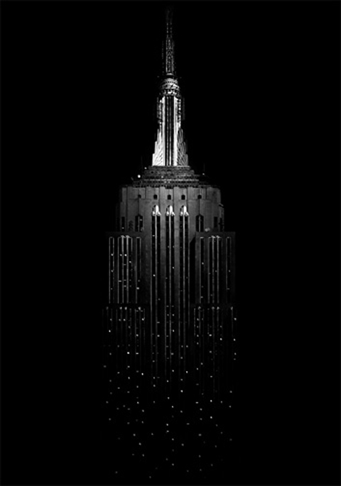 empire state building, photography photo black and white caption dark night architecture New York destination travel USA