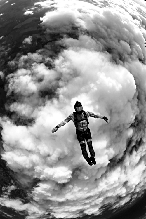 daredevil space jump stratosphere baumgartner red bull jump base wingsuit  parachut sky height record photography black and white atmosphere stunning cool shot sport risk falling fall sky clouds sky