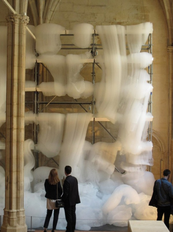 Michel Blazy Fills a Monastery With Cascades of Foam art installtion sculpture photography fog smoke white artist
