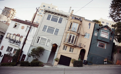 san francisco houses architecture photography building street slope angle perspective city USA california facade weird strange inclined