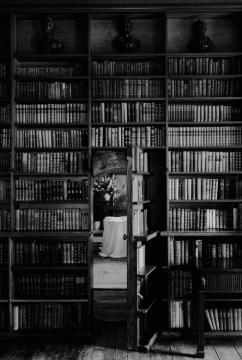Secret Library hidden books wall door library architecture design black and white vintage photography tumblr romantic secrets artistic photographer  blog