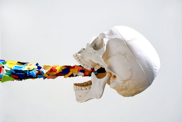 skull art sculpture installation exhibition artist arts modern pop art colorful paper art awesome  photo photography kunst strange cool art skull head bones anarchy, artist, graffiti, spray can, street art