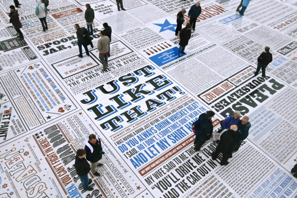 newscarpet, news newspaper journalism fun entertainment fun carpet crowd art installation huge amazing fun design photography art installation floor