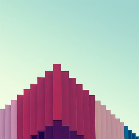peak, photograph, photography, image, architecture, roof, colourful, series of colour, magenta, blue