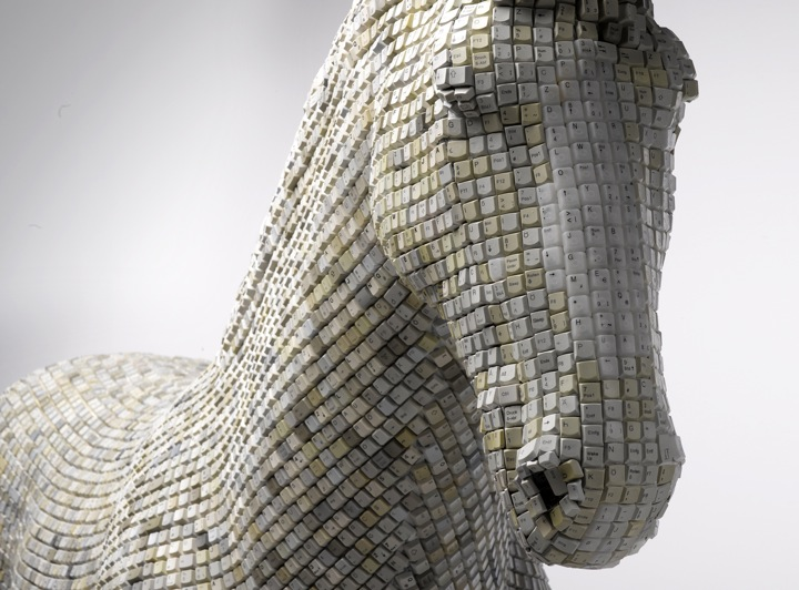 keyboard sculpture horse animal sculpting pixels module typing art installation keyboard skin keys letters symbols numbers computer