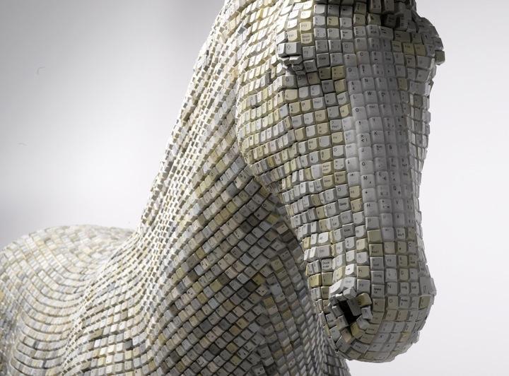 keyboard sculpture horse animal sculpting pixels module typing art installation keyboard skin keys letters symbols numbers computer