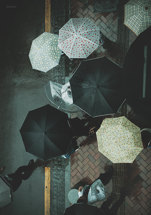 umbrellas rain commute raining walking outside photography art photographer top view aerial photograph