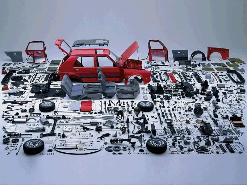 gt VW volkswagen parts bit and pieces driving road construction building car assembly automobile auto deconstruction art sculpture exploded disassembled art photography object