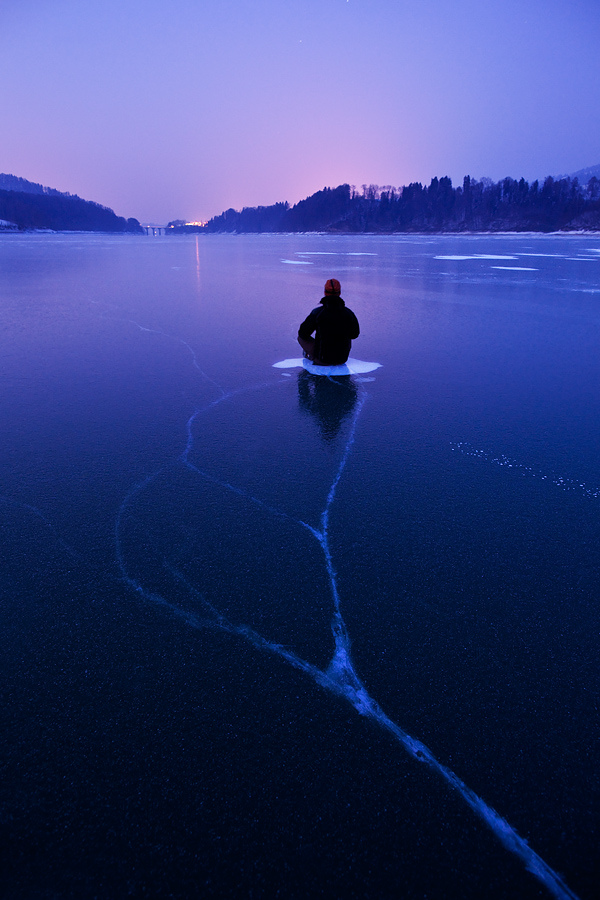 river water ice lake snow winter man sitting on ice shelf breaking through danger beautiful photograph winter view night evening light blue colour landscape · water · cloud · nature · mountains · fire and light · snow and ice · city · planet earth · follow how to blog ask us anything · archive · tumblr theme