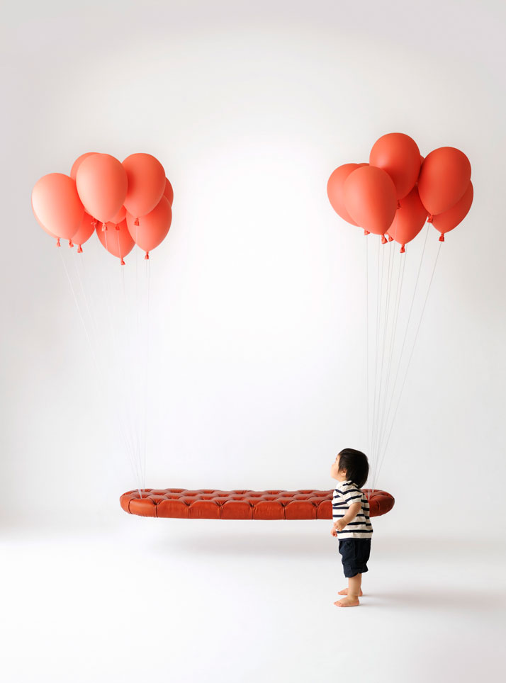 flying couch design photography ballon red hovering sofa chinese kid child ballon bench artistic photography interior furniture design blog wordpress tumblr