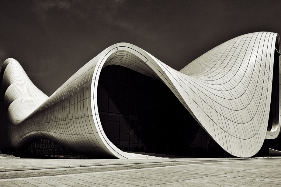 Haydar Aliyev cente organic architecture zaha hadid architects black and white photography  curves lines concrete flowing curvature beautiful organic building structure
