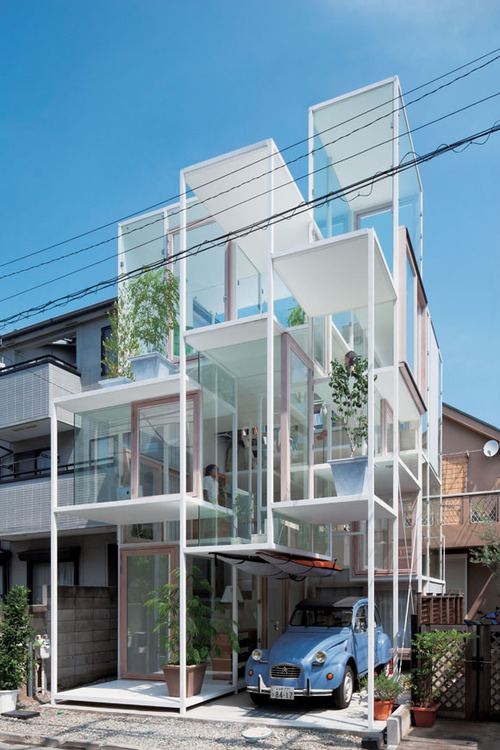 Sou Fujimoto designed this multi-level home to recreate the experience of clambering up the branches of a tree. The steel and glass lattice encapsulates twenty-one small spaces at varying levels.