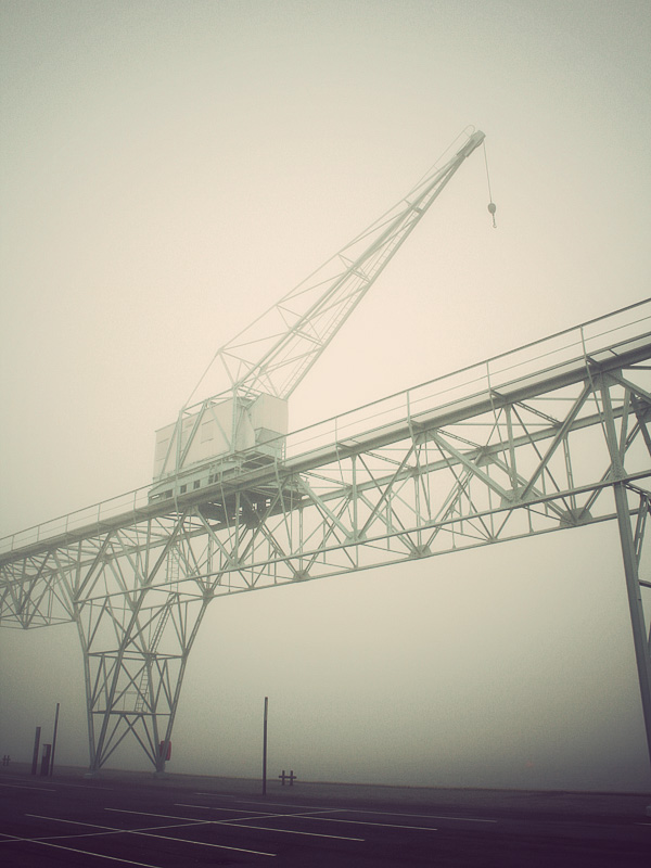 photograph of a large steel bridge and crane construction in the fog and mist monochrome architecture beautiful Facebook cover profile photo blog best us united states use wordpress tumblr