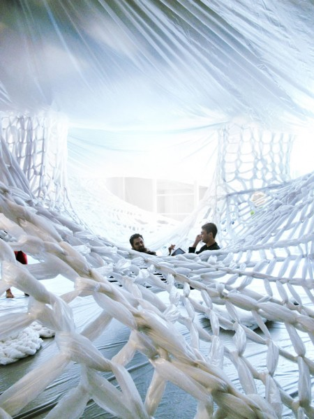 White Gallery Installation Designed Studio 400 net hanging