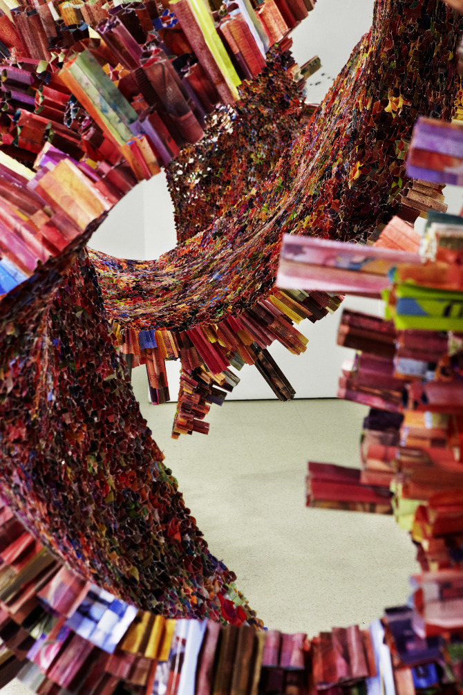 Korean-born, New York City-based artist Yun-Woo Choi creates the most mind-blowing sculptures I've ever seen. He uses things like magazines and newspapers rolled up, along with resin and wire to hold the forms. The dimension created from something that starts out so thin is simply unreal. Just imagine all the time it takes to fold the pages and then to arrange them in such a sculptural way –  it's just astounding art photography design paper art doodle