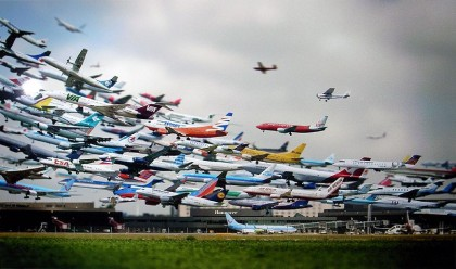 airplanes take off airport composite stiched together photography starting landing air planes travelling passenger numbers inscrease holidays cool photoshoped image
