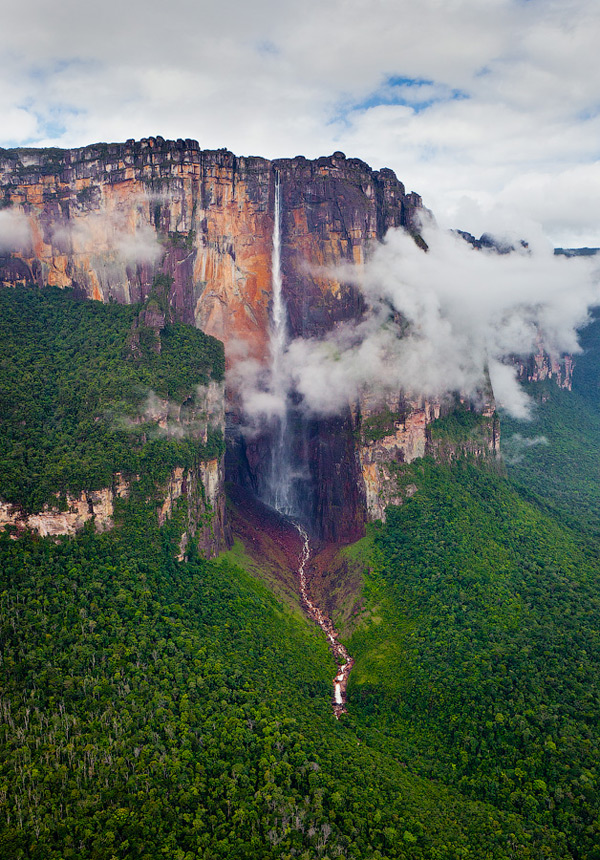 Angel Falls, and nearby Dragon and Cortina Falls in Venezuela1