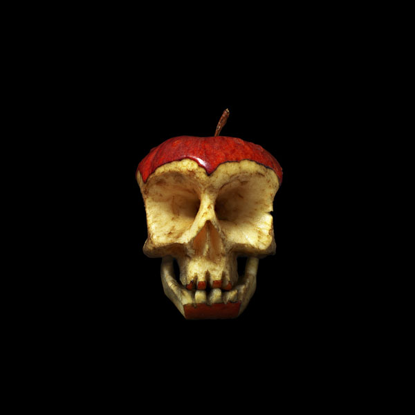 Apple skull sculpture Russian artist Dimitri Tsykalov created a wonderful series of skull sculptures out of fruits and vegetables between 2005 and 2008. He has much more food-themed sculpture work on his site.