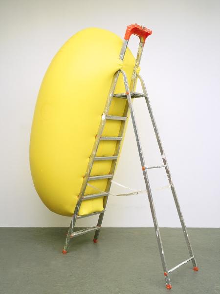 balloon sculpture climbing a ladder  Hans Hemmert – Yellow Balloon Installation art funny cool squeezing balloons german artist kunst creative artistic funny photography baby and yellow balloon