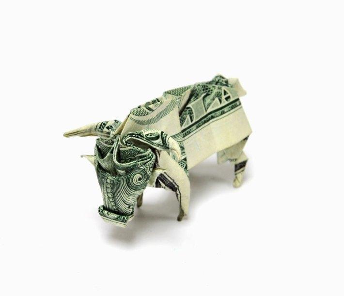 bull-made-from-dollar-bill-origami-by-won-park Money Origami by Won Park art folding paper dollar bills