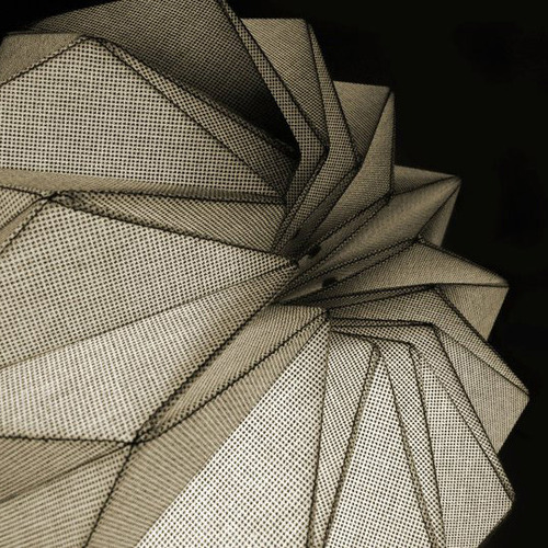 """fractales"" lamps by Dario Stanziano and Batti These textile pendant lamps (designed by Darío Stanziano y Diego Battista) combine fine tailoring, mathematical and morphological concepts fine detailed folding textile shell analytical geometrical design product design manufacturing  digital parametric surface organic origami photo photography"