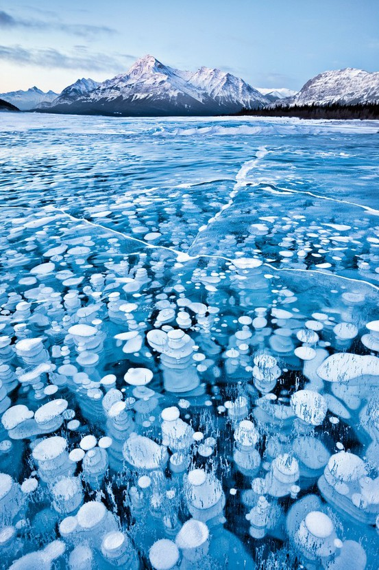 Frozen bubbles in a Canadian Lake -Emmanuel Coupe.This image was taken in winter time in a arid area of the Canadian Rockies. Temperatures where below -30 degrees Celsius yet because there was no snow fall the surface of the lake was uncovered allowing me to see and capture the bubbles (gas release from lake bed) that were trapped in the frozen waters. Strange patterns alien landscape photography photos wild nature.