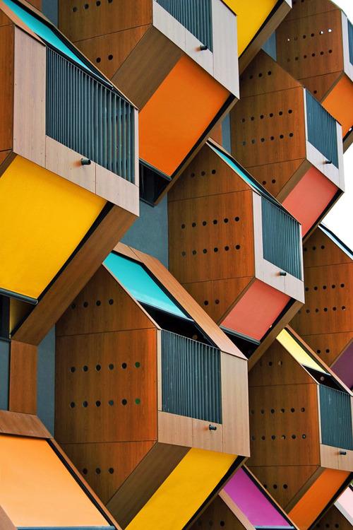 Izola Social Housing  OFIS arhitekti architecture slovenia box container architecture student housing flats facade color organic architecture balconies