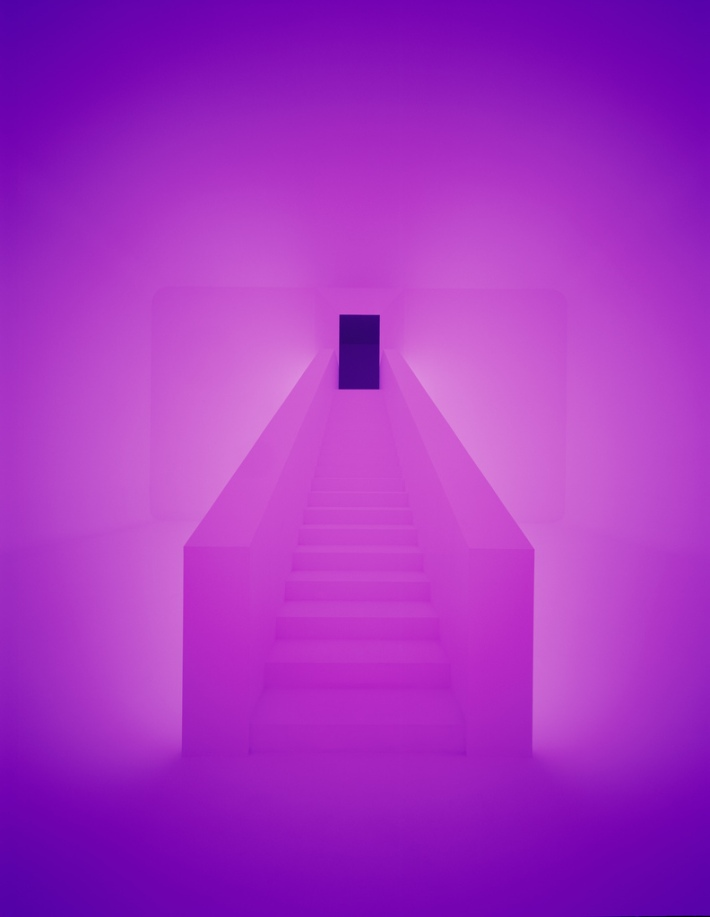 James Turrell -Photo Florian Holzherr Ganzfeld exhibition at kulturforum järna, stockholm through 9.30.12 art installation color lights minimalism path stairs architectural magic photo photography art