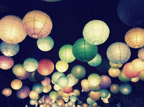 japanese paper lanterns lights beautiful color colourful love romantic hanging lamps festival christmas romance halloween  glow dream