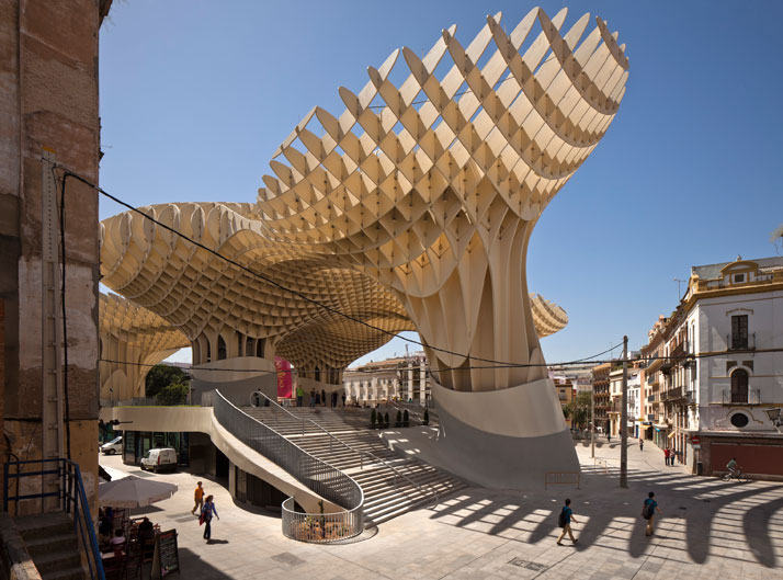 Jurgen-Mayer-H-Seville-Spain-photo-Fernando-Alda-yatzer- The Metropol Parasol - The world's largest wooden structure  organic timber architecture