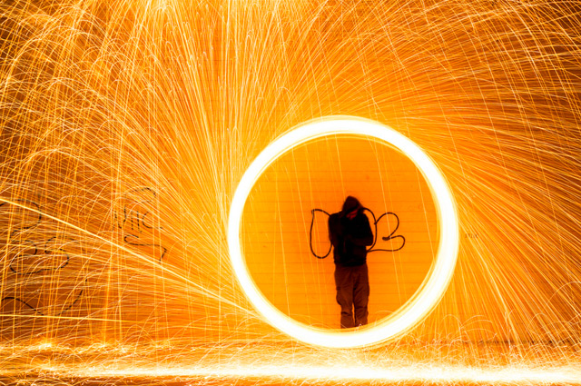 "Light Painting by Simon Berger  Light painting is a photographic technique in which exposures are made by moving a hand-held light source or by moving the camera."" Knowing this, Simon Berger has created a fantastic series of light paintings made to appear as if light was raining on the figure in the photos art installation even photography canon camera photographer contrast colour light"