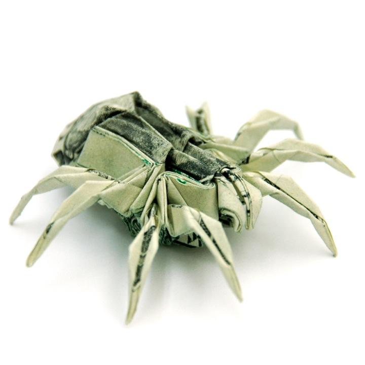 Money Origami by Won Park art folding paper dollar bills