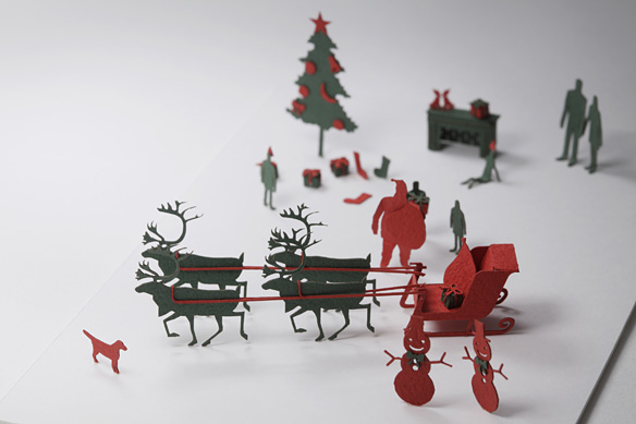 paper silhouettes cut outs Santa Claus, sledge, reindeer, Christmas tree, socks, presents, fireplace, snow man, dogs, turkey and so on. architectural model modelling paper cardboard foldable origami