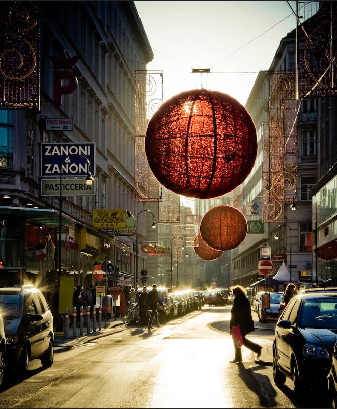 vienna wien austria red ball hanging light street decoration christmas ornament winter season design architecture street shopping visit travel tourist destination places to go
