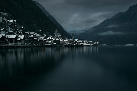 akos major photography village city night evening dark lake mountain forest winter snow