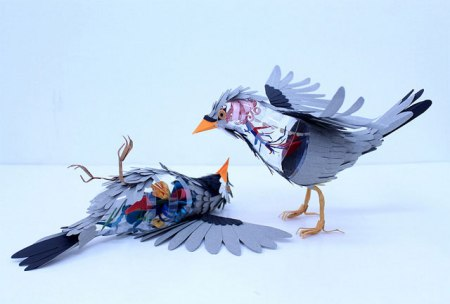 art paper bird sculpture insides anatomy diana beltran herrera early bird movement paper and venily guts and insides of birds artist colombia