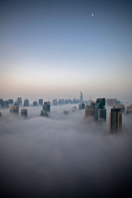 dubai skyscrapers architecture clouds fog architecture world famous tallest buildings in the world abu dhabi world record burj khalify panorama photograph Dubai skyline skyscrapers high rise