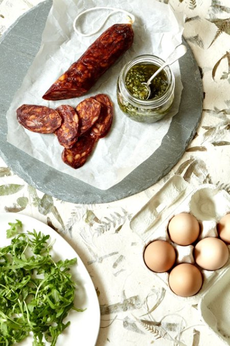 food photography ingredients ham italitan chorizo preparation recipe cooking pesto